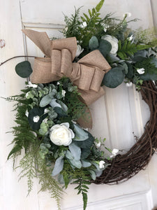 White rose greenery wreath
