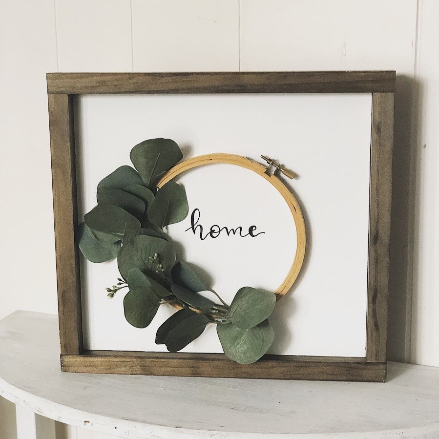 Home embroidery hoop sign