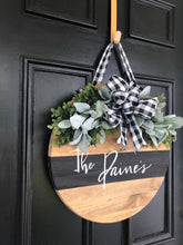 Load image into Gallery viewer, Wood round wreath with black stripe
