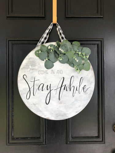 Stay Awhile Wooden Wreath