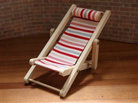 Red Striped Deckchair-Dollshouse Hampshire