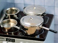 4 metal Saucepans-Dollshouse Hampshire