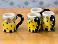 4 Pretty Coffee Mugs-Dollshouse Hampshire