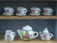 Pink Flowers Tea Set-Dollshouse Hampshire