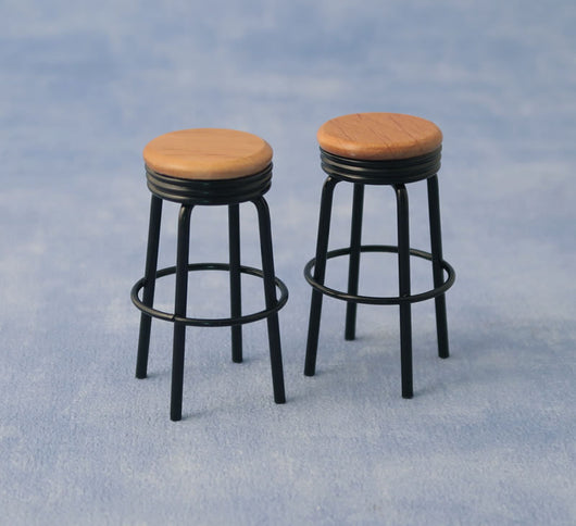 2 Black Bar Stools-Dollshouse Hampshire