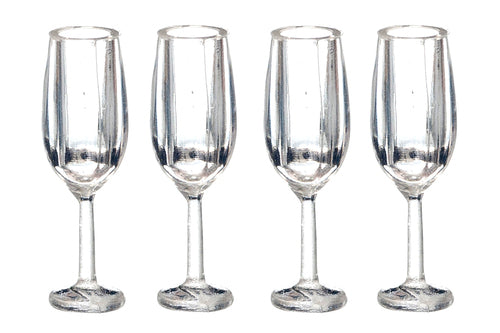 4 Champagne Flutes-Dollshouse Hampshire