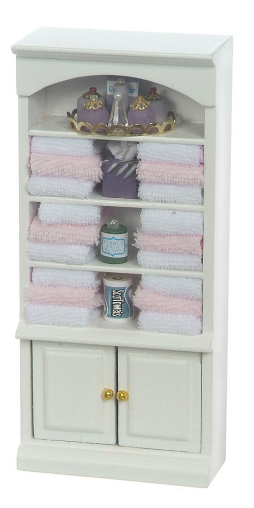 Bathroom Cupboard with Pink Towels-Dollshouse Hampshire