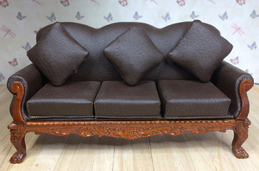 Brown Leather Style Sofa-Dollshouse Hampshire