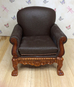 Brown Leather Style Chair-Dollshouse Hampshire