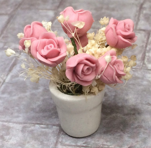 Vintage Pot of Roses-Dollshouse Hampshire