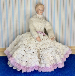 Vintage Lady in Frilly Dress-Dollshouse Hampshire
