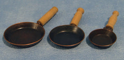 3 Graduated Frypans-Dollshouse Hampshire