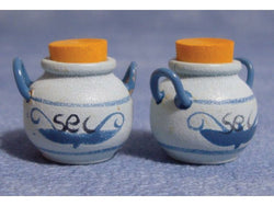 Blue Pots Pair-Dollshouse Hampshire
