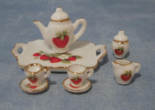 Tea Set With Strawberries-Dollshouse Hampshire