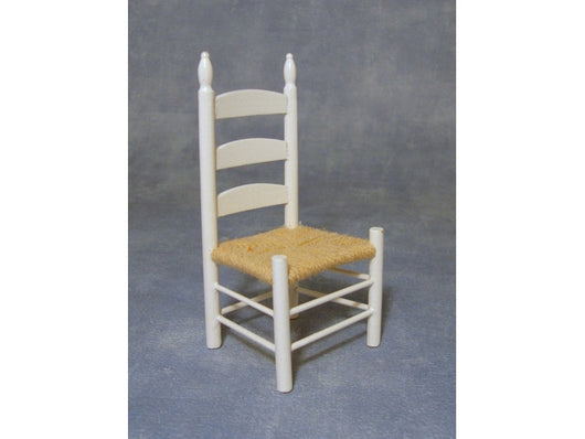 White Chair with Woven Seat-Dollshouse Hampshire