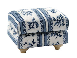 Blue & White Footstool-Dollshouse Hampshire