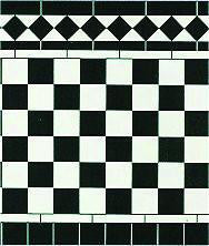 Card Black & White Tiles-Dollshouse Hampshire