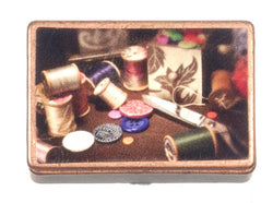 Metal Sewing Box & Contents-Dollshouse Hampshire