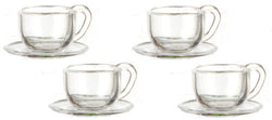 4 Tea Cups & Saucers-Dollshouse Hampshire