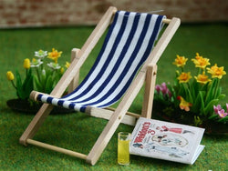 Blue Striped Deckchair-Dollshouse Hampshire