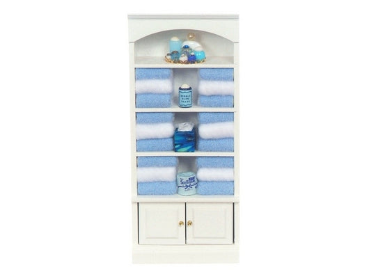 Bathroom Cupboard with Blue Towels-Dollshouse Hampshire