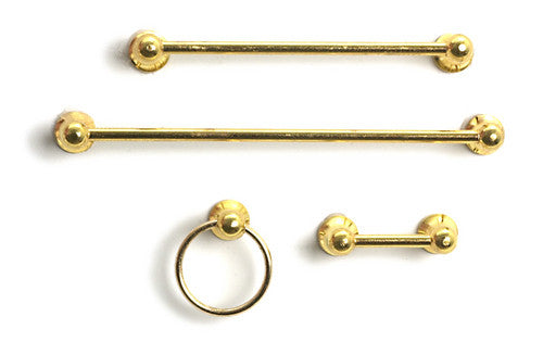 Gold Towel Rail & Loo Roll Set-Dollshouse Hampshire