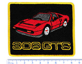 Vintage Style Ferrari 308 GTS Sports Car Iron On Patch 8.5cm