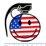 Cool Large USA American Flag Happy Smiley Face Grenade Patch Punk 9cm