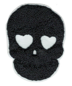 Black Chenille Skull Heart Eyes Patch 10cm