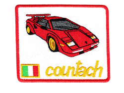 Vintage Style Lamborghini Countach Sports Car Iron On Patch 8.5cm