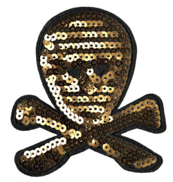 Cool Gold Sequins Skull Patch 10.5cm