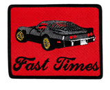 "Vintage Style ""Fast Times"" Corvette Iron On Patch 8.5cm"