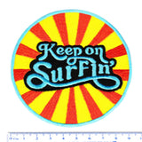 "Cool Vintage Style 70's 80's Surfing ""Keep on Surfin'"" Iron On Patch 9cm Applique"