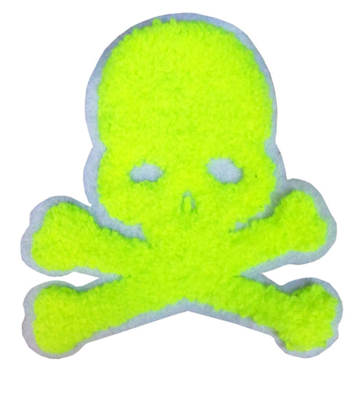 Neon Green Chenille Skull Patch 9.5cm