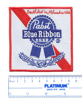 Vintage Style Pabst Blue Ribbon PBR Beer Embroidered Patch 9cm