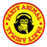 "Cool Vintage Style ""Party Animal"" Chimp & Headphones Iron On Surfer Morale Patch 8cm Applique"