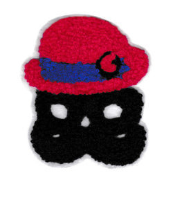 Adorable Chenille Mustache Man Patch 9.5cm