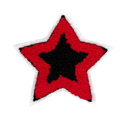 Adorable Red & Navy Chenille Star Patch 10cm