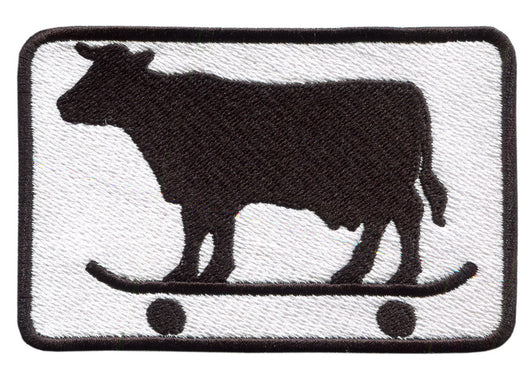 Skater Cow Embroidered Patch 9.5cm