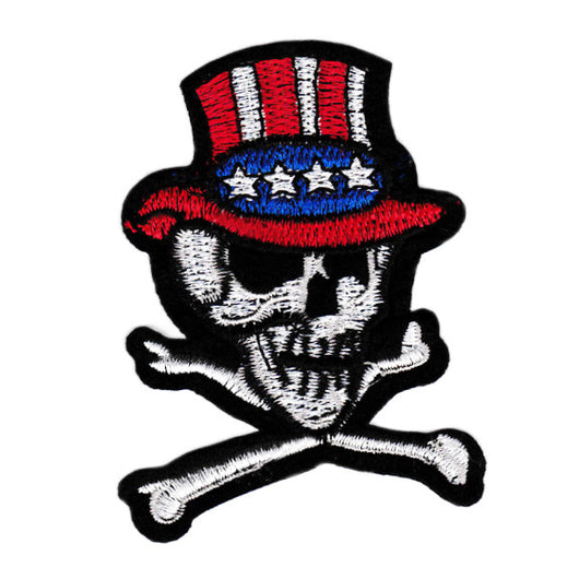 Large USA Tophat Skull Biker Patch 9cm