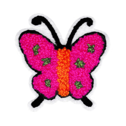 Cute Chenille PInk Butterfly Patch 8cm