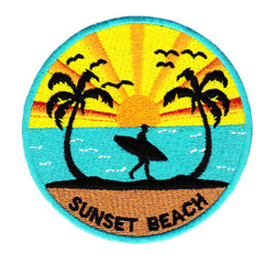 Cool Vintage Style Sunset Beach Surfing Iron On Surfer Patch 8cm Applique