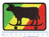 Rasta Skater Cow Embroidered Patch 9.5cm