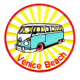 "Cool Vintage Style Surfing ""Venice Beach"" Iron On Surfer Patch 9cm Applique"