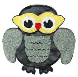 XL Extra Large Chenille & Black Vinyl Owl Patch 20cm Applique