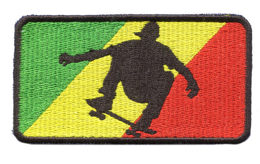 Rasta Skater Embroidered Patch 9.5cm