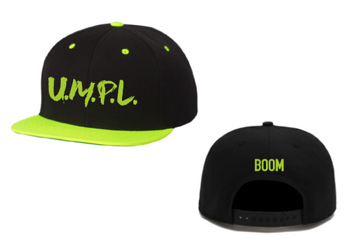 U.M.P.L. snapback black with neon green - Unity Music Party Love