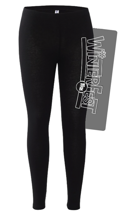 WinterFest Black Leggings no year, white print