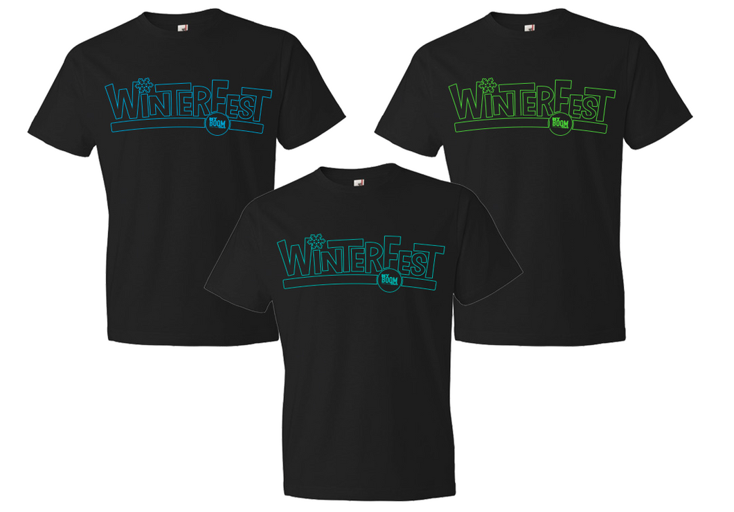 WinterFest Shirt, Logo Only Neon Teal on Black Shirt