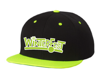 WinterFest SnapBack, black with neon green, no year